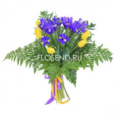 Букет желтые тюльпаны и ирисы