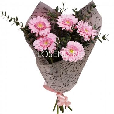 Букет из 5 розовых гербер